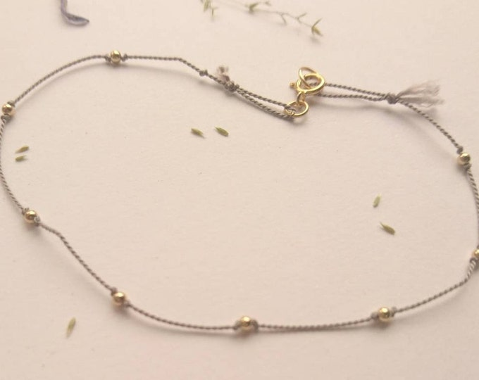 Gold beaded cord bracelet, silk cord bracelet with 14k gold fill beads