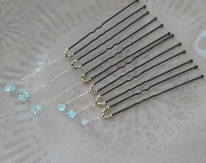 Aquamarine hair pins, something blue for the bride, delicate blue bridal hair pins