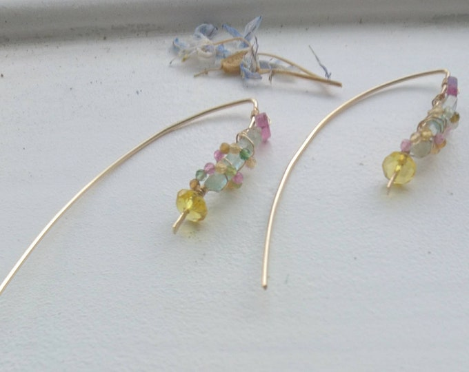 Multi gem earrings, watermelon tourmaline, citrine and aquamarine bar threader earrings, contemporary elegant jewellery