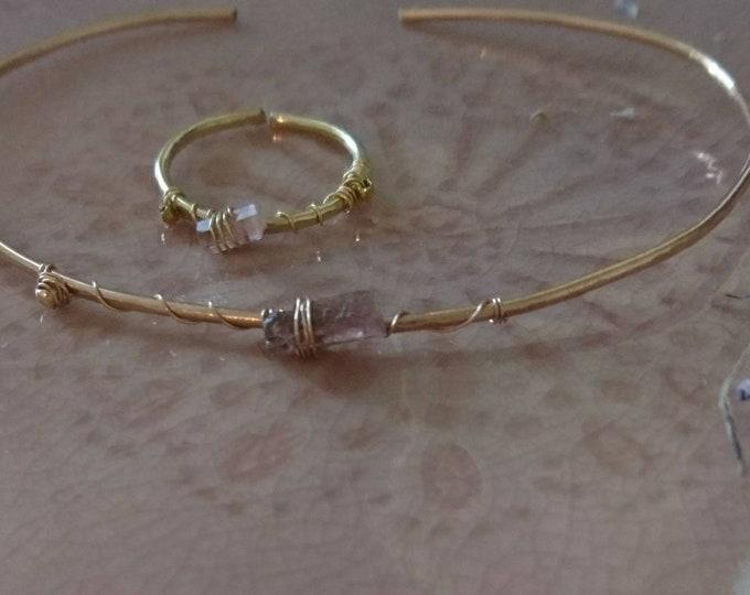 Minimal watermelon tourmaline ring, pink gemstone luxe, simple chic stacking ring