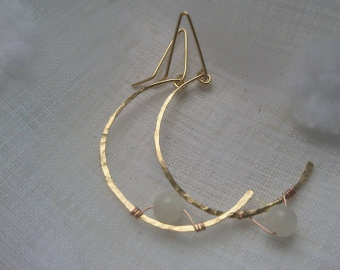 Moon earrings in hammered gold