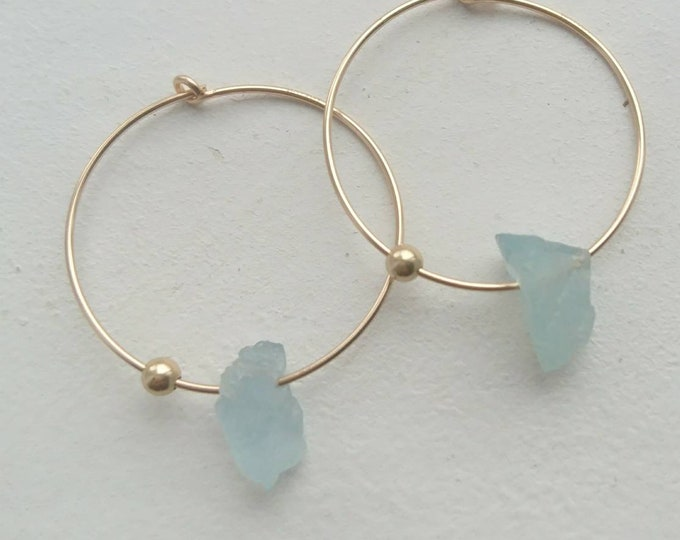 Aquamarine earrings, March birthstone gift for her, raw aquamarine hoops