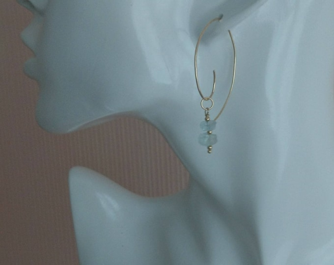 Mismatched aquamarine charm spiral hoop earrings, March birthstone gift for her