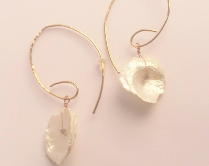 Hammered petal earrings, keishi pearl drop earrings with raw grey diamonds