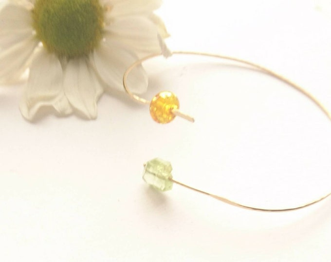 Peridot and baltic amber bypass bangle, multi gemstone open bangle, August birthstone birthday gift for her