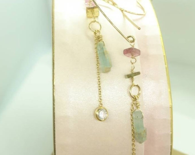 Valentine Heart earrings with watermelon tourmaline and aquamarine, delicate earrings, heart jewelry