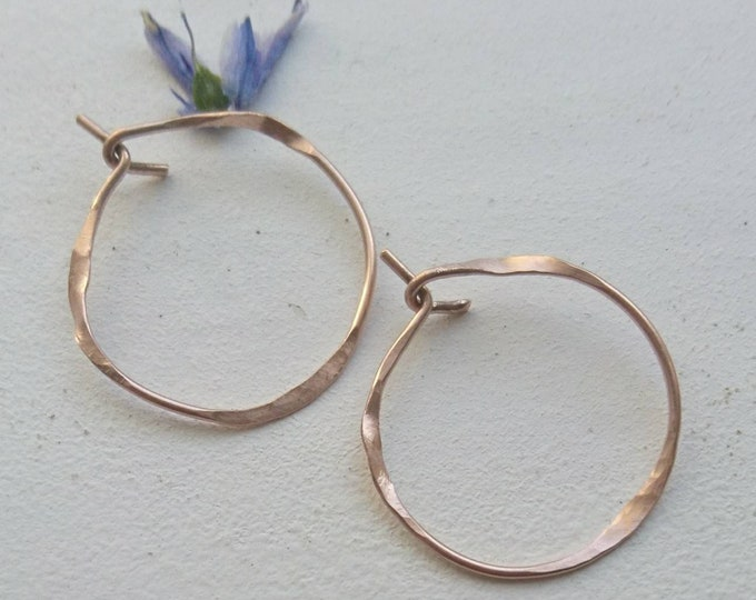 Small hoop earrings, hammered hoops,