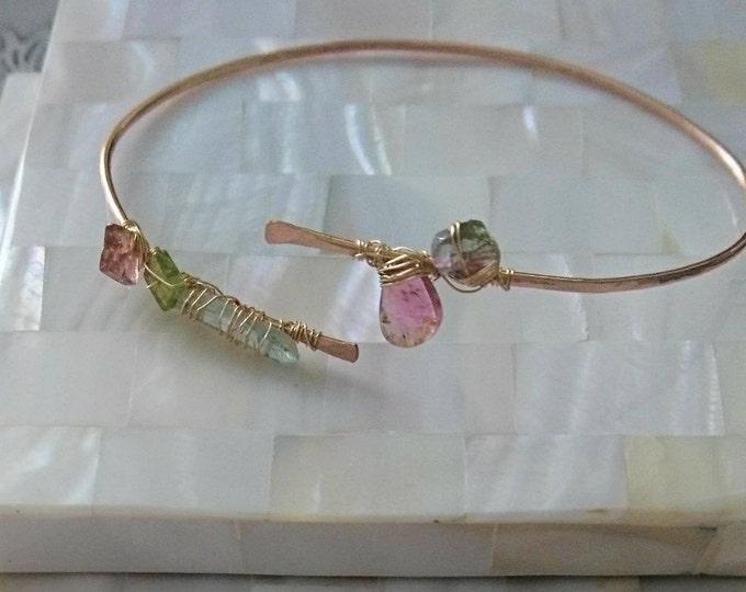 Watermelon tourmaline and aquamarine bangle, unique jewellery, artisan style, multi gemstone jewelry, boho luxe bracelet, March birthday