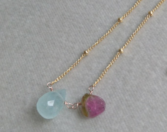 Raw aquamarine and watermelon tourmaline necklace, delicate layering