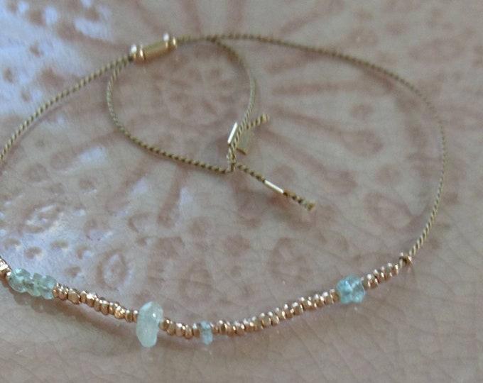 Skinny bracelet aquamarine and rose gold vermeil beads, raw gemstone and beads friendship bracelet, stacking bracelet, boho chic jewellery