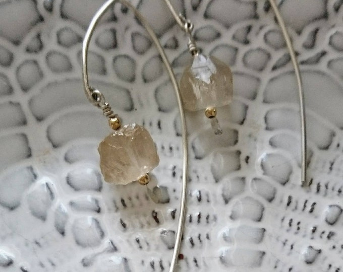 Raw imperial topaz earrings, threader earrings, contemporary jewellery, understated glamour, modern boho luxe accessories, neutral colours