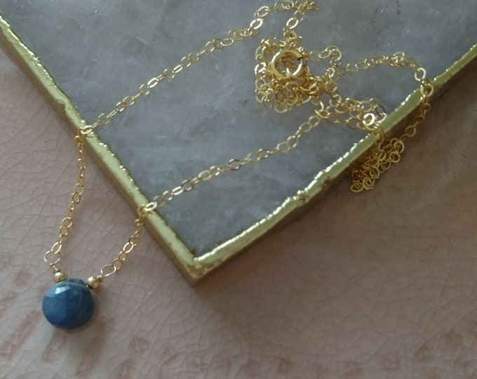 Blue sapphire necklace in 14k gold fill chain, delicate gemstone jewelry, September birthstone gift for her, blue gem necklace, understated