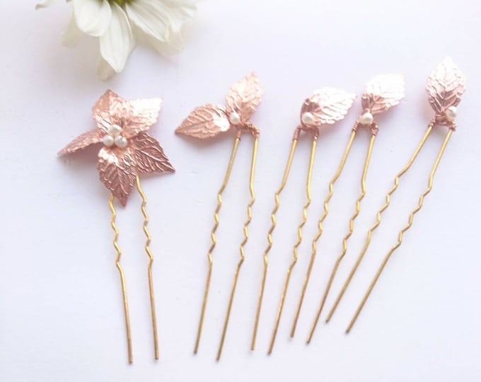 Rose gold leaf hairpins with freshwater pearls.