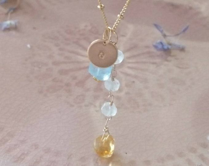 Multi gemstone charm pendant necklace on 14k gold fill satellite chain with personalised tag, aquamarine, citrine and moonstone necklace