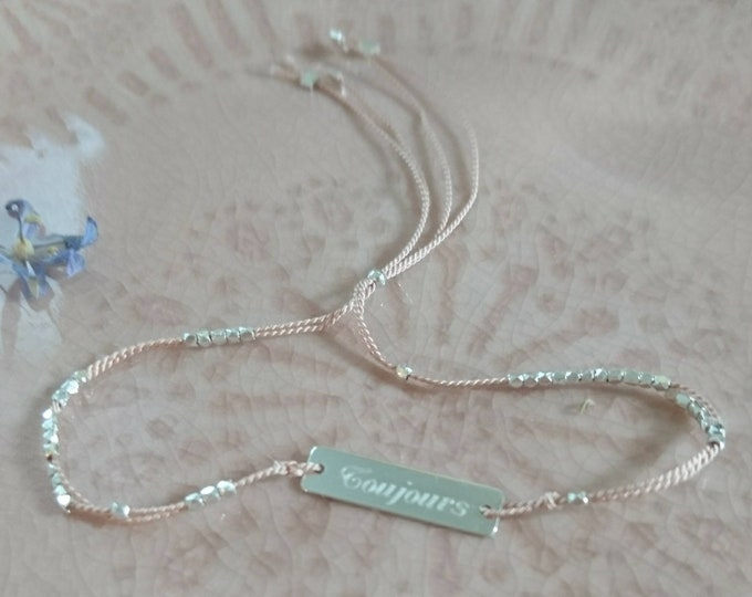 Toujours bar tag bracelet in sterling silver on silk cord,