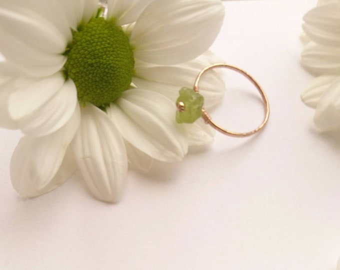 Raw peridot ring, August birthstone gift for her