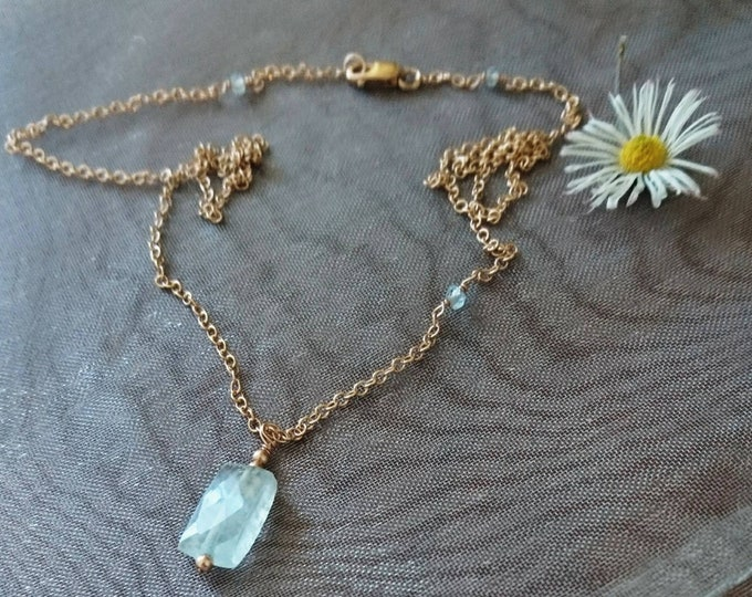 Faceted aquamarine oblong pendant necklace, blue gemstone, March birthday gift for daughter, for girlfriend, for niece