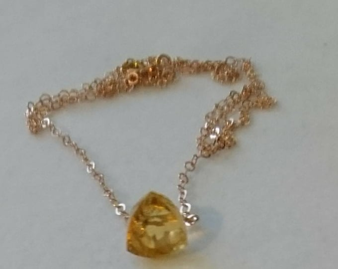 Faceted citrine necklace, November birthday gift for her, minimalist crystal birthstone necklace, rose gold jewelry, gift for mum, wife