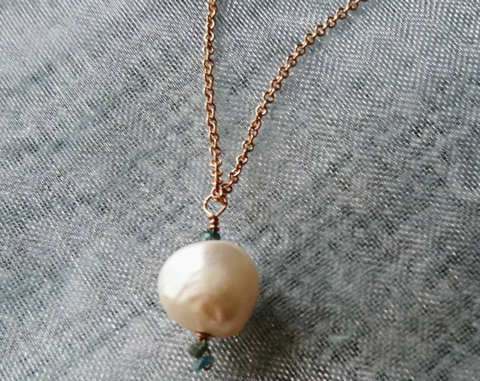 Diamonds and pearls, Single pearl necklace with blue diamond, jewellery for bride, something blue