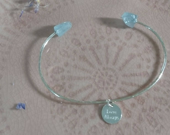 Aquamarine bangle with personalised charm/tag