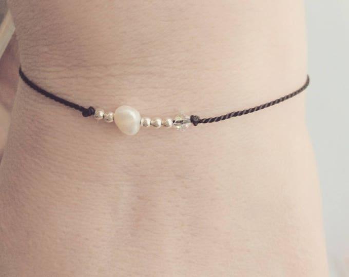 Silk cord bracelet, friendship bracelet, dainty jewellery, June birthstone, gift for her, dainty bracelet,