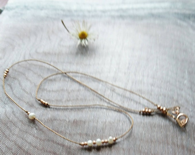 Silk cord necklace with pearls and rose gold filled beads, June dainty necklace, June birthstone jewellery, silk necklace bride, minimalist