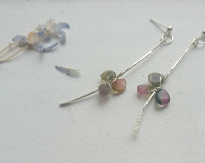 Asymmetrical watermelon tourmaline sterling silver earrings, minimal chic, modern dangly earrings