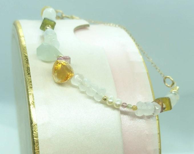 Multi gemstone bracelet with charms, personalised jewellery,