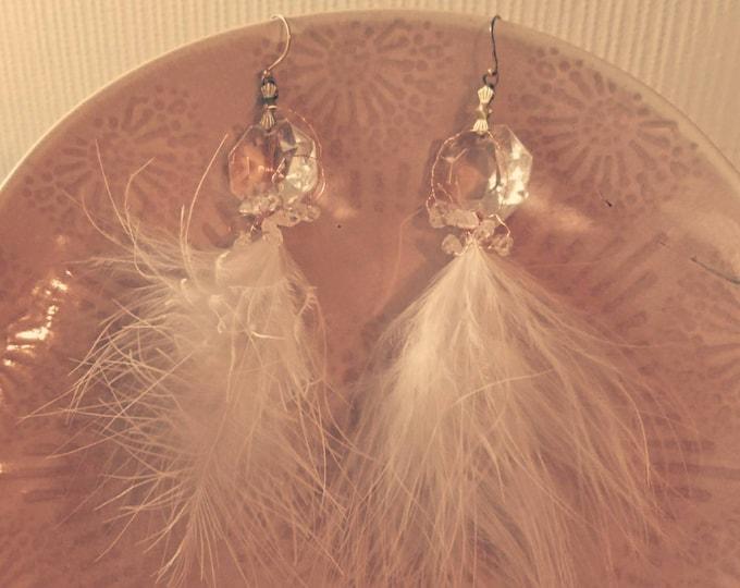 Feather earrings, upcycled jewellery, chandelier earrings, statement jewellery, unique design jewelry, boho luxe, boutique jewellery, gift
