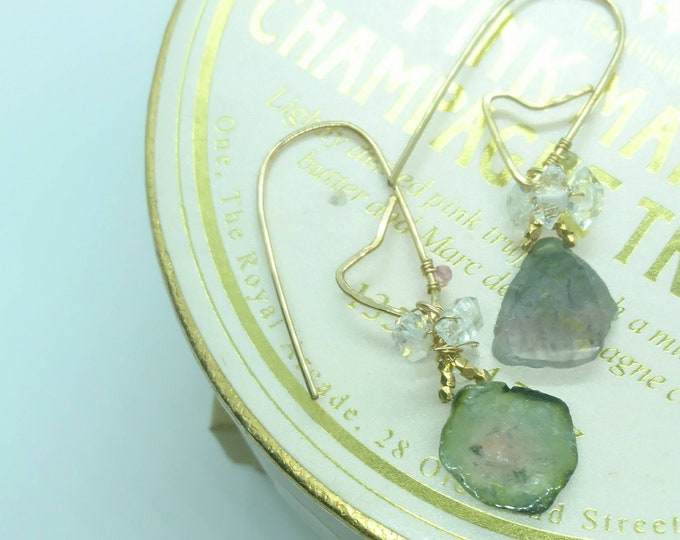 Valentine gift, Earrings watermelon tourmaline, one of a kind, drop earrings with herkimer diamonds,