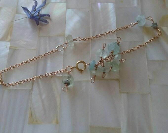 Aquamarine and raw diamond rose gold fill dainty bracelet, bracelets, bride jewellery, something blue, anniversary gift, stunning unique