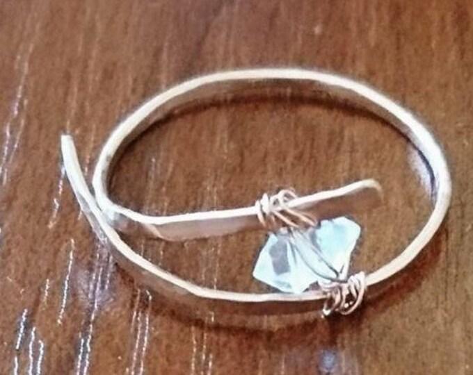 Herkimer diamond cross over ring, gift for her, April birthstone,