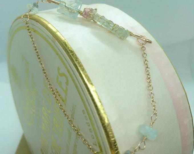 Aquamarine and watermelon tourmaline wire wrapped bar bracelet, raw gemstone jewelry