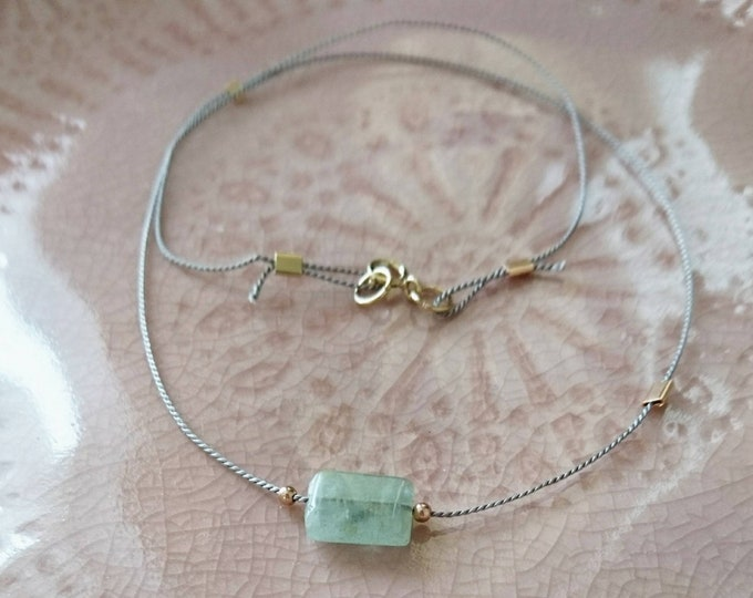 Aquamarine necklace with rose gold accents, boho chic jewellery