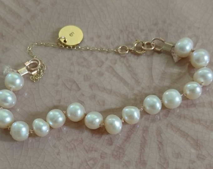 Personalised pearl bracelet, hand knotted, June birthday, gift for her, disc charm jewellery,
