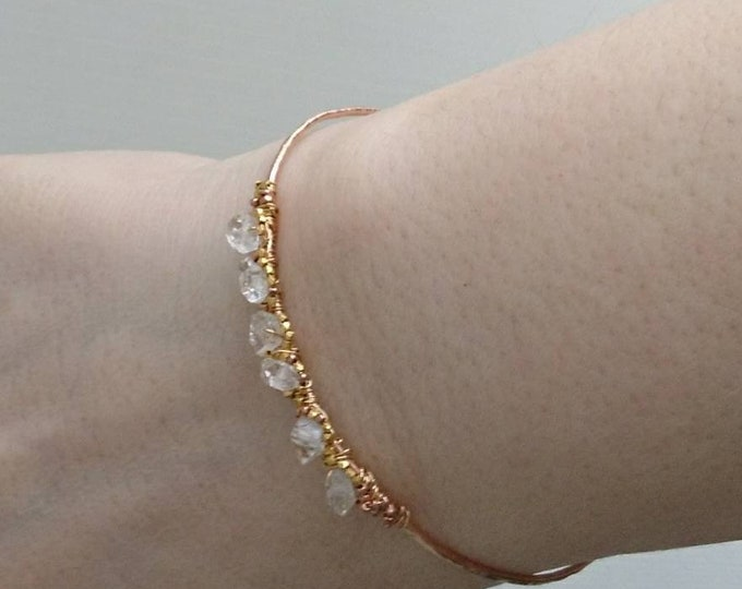 Artisan herkimer diamond bracelet April birthday,diamond wrap open bracelet,unique gemstone bracelet, open  diamond bangle, April birthstone