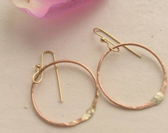 Simple drop hoop earrings in 14k rose gold fill with 9ct gold