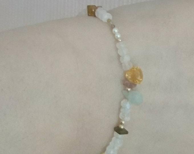 Semi precious jewel bracelet, multi gemstone bracelet with charms, personalised jewellery,