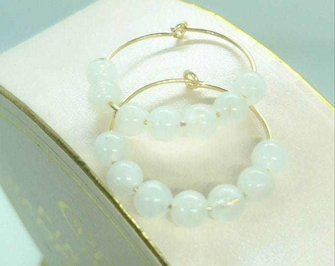 Moonstone hoop earrings, 14k gold fill hoops with gemstones