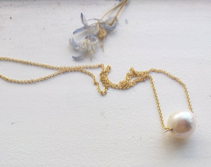 Large baroque pearl necklace in 14k gold fill, June birthday gift for her