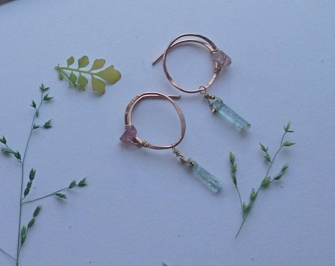 Aquamarine and watermelon tourmaline earrings, drop earrings, boho luxe