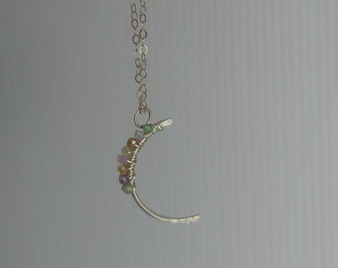 Multi coloured tourmaline pendant, crescent moon with gemstones, dainty jewellery gift for her