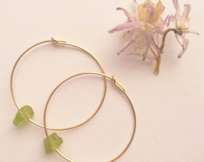 Peridot hoops, gold fill hoop earrings with raw peridot, August birthstone gift for her