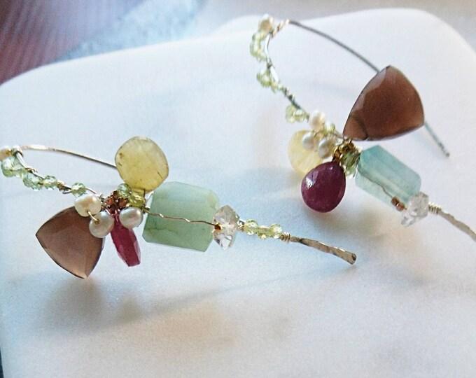 Unique Multi gemstone threader earrings, statement jewellery, glamorous rocks
