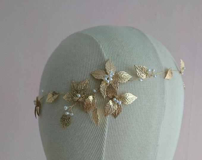 Gold leaf hair vine, pearl and gold hair accessory, goddess