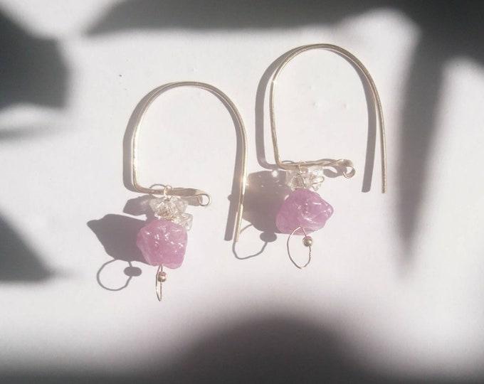 Raw ruby earrings,
