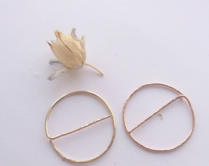 Modern hoops, hammered threader earrings, art deco