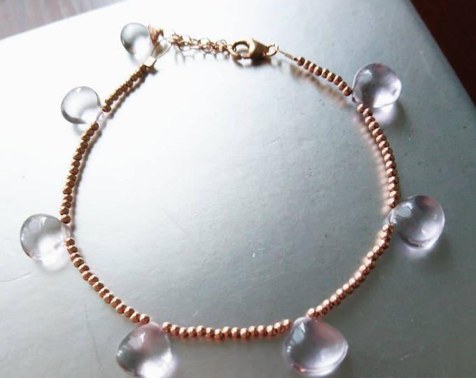 Amethyst bracelet, rose gold and AAA amethyst bracelet, jewellery gift for her, feminine jewellery, dainty bracelet,