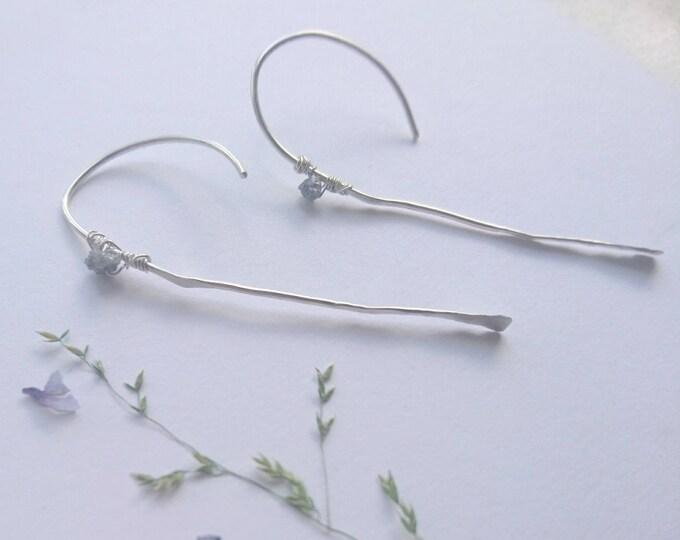 Raw diamond earrings, threader earrings, long stick earrings