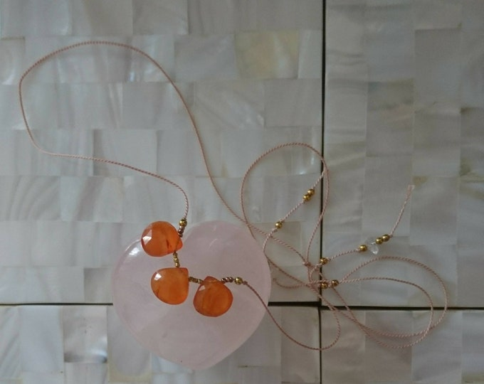 Carnelian necklace, silk cord necklace with three gems,  Orange gemstone summer jewelry, sliding clasp, gift for niece, for mum, best friend
